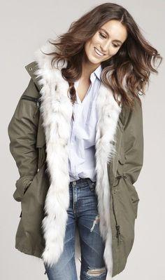 SAM Women's Fox-Fur-Lined 3-In-1 Field Jacket