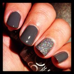 Deep Gray nails with Silver Sparkle accent nail--I'm going to try this