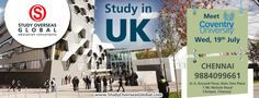 Coventry University will be visiting on 19th July 2017 at Chennai. Visit: http://studyoverseasglobal.com/ for details. #StudyOverseas #UniversityVisit