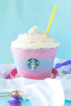Do you guys remember WAAAY back during summertime, Starbucks came out with a little drink called a Unicorn Frappuccino and the world freaked out? I mean, the drink was pretty, but since it didn't seem to taste very great, I thought I'd make one that would taste a whole lot better…by making a Unicorn Frappuccino...