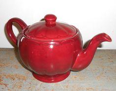 Vintage Tea Pot, Maroon, Burgundy, Victorian Classics, Ceramic, The English Collection, Pretty Tea Pot