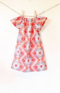Native Print in Coral  // Toddler Dress // Baby Dress // Girl Dress