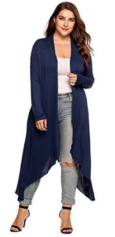 b1e3df4caad Womens Plus Size Long Sleeve Loose Waterfall Drape Open Front Long Maxi  Cardigan
