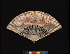 1750, France - Fan - Gouache on vellum, with carved and painted ivory sticks, backed with mother-of-pearl