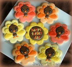 Thanksgiving cookies~                   turkey cookies  1 dozen by SweetArtSweets, $48.00, yellow, Orange, cut from flower-shaped cutter