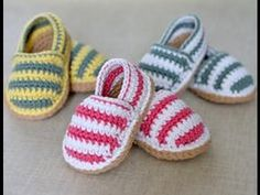 getlinkyoutube.com-Patucos de ganchillo de bebé. Crochet baby booties. 钩针婴儿鞋 الجوارب الكروشيه الطفل