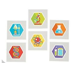 Science Party Favor Tattoos, Chemistry Theme Birthday, Goody Bag Gifts, Thank You Present