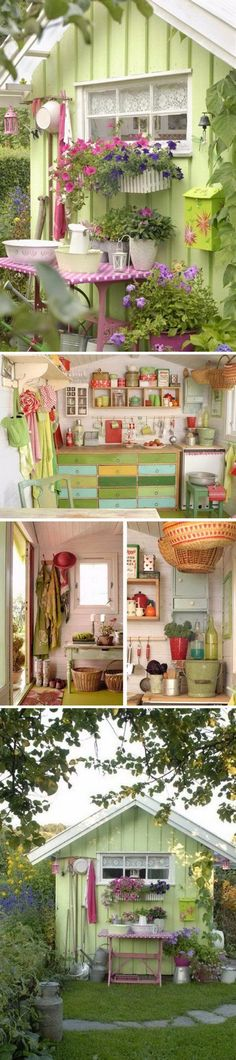 Amazing Shed Plans - Sweet Little Green Potting Shed. Now You Can Build ANY Shed In A Weekend Even If You've Zero Woodworking Experience! Start building amazing sheds the easier way with a collection of shed plans! Backyard Sheds, Outdoor Sheds, Outdoor Rooms, Garden Sheds, Craft Shed, Diy Shed, Shed Design, Garden Design, She Sheds