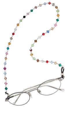 Jewelry Design - Eyeglass Holder with Swarovski Crystal Beads - Fire Mountain Gems and Beads Beaded Lanyards, Eyeglass Holder, Swarovski Crystal Beads, Scarf Jewelry, Handmade Accessories, Eyeglasses, Beaded Necklace, Jewelry Design, Jewelry Making