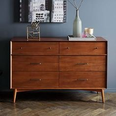Shop lars mid-century dresser from west elm. Find a wide selection of furniture and decor options that will suit your tastes, including a variety of lars mid-century dresser. Mid Century Bed, Mid Century Modern Bedroom, Mid Century Dresser, Mid Century Modern Furniture, Ikea Chest Of Drawers, 4 Drawer Dresser, Dresser As Nightstand, West Elm Dresser, Sweet Home