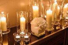 Wedding Flower and Candle Arrangement