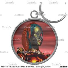 ARES - CYBORG PORTRAIT IN SUNSET / Science Fiction Silver-Colored Round Keychain