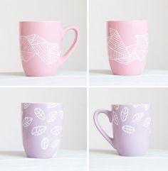 hand painted pastel mugs!