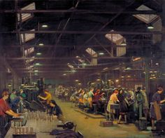 """frederick william elwell - """"a munitions factory"""" oil on canvas. Glasgow Museum, Frederick William, Russian Painting, Painting Art, Art Corner, Greater London, Art Uk, Your Paintings, Historian"""