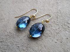 14k Gold London Blue Topaz Earrings by SirensandAngels on Etsy, $250.00
