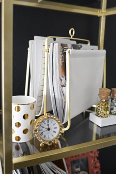 A glam and gold home office featuring office supplies and decor from @Target. The gallery wall is functional and pretty! #ad