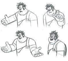 Enjoy a gallery of Original Concept Art, Character Design & Color Scripts for Disney movie Wreck-It Ralph. Disney Pixar, Walt Disney Animation Studios, Animation Sketches, Animation Reference, Anatomy Reference, Wreck It Ralph, Disney Sketches, Disney Drawings, Disney Artwork