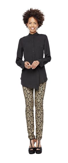 trend: brocade – a.n.a mandarin-collar tunic and bisou bisou by @Michele Bohbot  brocade jeans