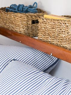 The original ledge shelves on the boat are the perfect place for our hand-woven Rectangular Hogla Bins which fit snuggly across the perimeter of the interior space. The natural fibers add an earthy touch to the living area and keep things contained and corralled even when the waters get a little rough.