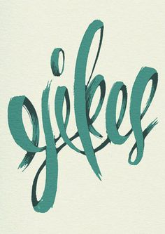Obsessed with the hand-drawn style #typography #design #hand-drawn  This design really caught my eye.  I like the contrast of the dark and light teal colors.  I believe that the type was hand designed and I think that the designer did a good job.  They made the word yikes which seems so elegant when it is a word people say when they are freaking out.