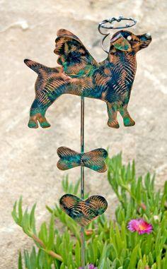 Jack Russell Pet Memorial Metal Garden Art Stake, Garden Dog Memorial Marker, Grave Marker, Dog Sculpture Copper Pet Memorial,