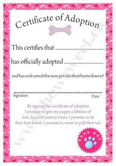 puppy adoption papers for kids party | Inspiration-Activity-Pink Puppy Party | The Perfect Party!