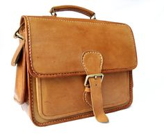 Satchel Double Pocket Leather Briefcase by CoruscateLeatherBag, $175.00-SR