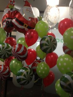 Deluxe and Santa Christmas bouquets in lime and ruby red