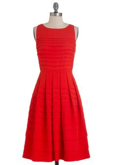 Tier to My Heart Dress by Eva Franco - Long, Red, Solid, Pleats, Party, A-line, Sleeveless, Tiered, Fit & Flare, Tis the Season Sale