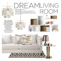 """Dream living room"" by punnky-interiors ❤ liked on Polyvore featuring interior, interiors, interior design, home, home decor, interior decorating, Tom Dixon, Marset, Dransfield & Ross and Muuto"