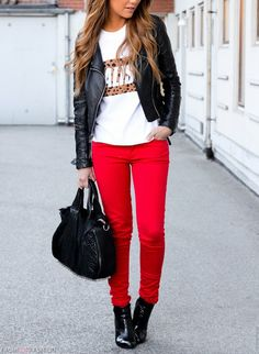 Black leather jacket white t-shirt, red trousers, black heels and handbag. Street spring women fashion outfit clothing style apparel @roressclothes closet ideas