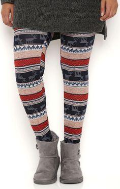 Deb Shops Plus Size Tribal Reindeer Stripe Leggings $12.00
