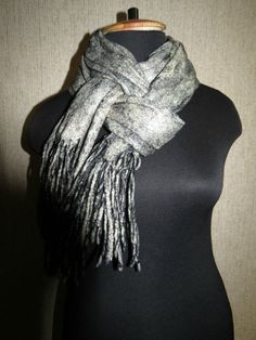 Items similar to Stylish black scarf/ Wool scarf/ Warm Felted Scarf/ Stylish gift for her on Etsy Special Gifts For Her, Black And White Scarf, Wool Scarf, Felted Scarf, Diy Fashion, Womens Fashion, Branding, Christmas Gifts For Women, Girls