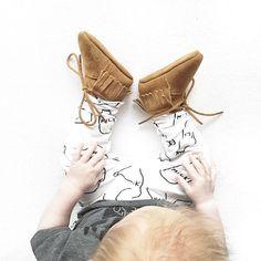 Mockies Babyshoes Camel Fringe Boots www.mockies.nl