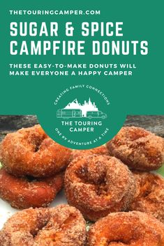 These sugar and spice campfire donuts will make everyone a happy camper at your next campout! And because they are so simple to make you can be enjoying a warm donut in no time at all. Rv Camping Recipes, Camping Meals, Camping Storage, Camping Cooking, Outdoor Cooking, Campfire Desserts, Campfire Food, Campfire Recipes, Road Trip Food