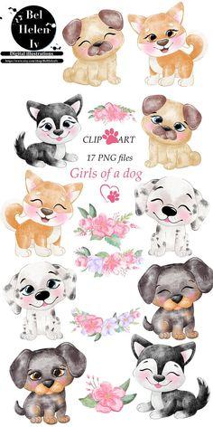 Cartoon Dog Drawing, Cute Dog Cartoon, Cartoon Cow, Animal Drawings, Cute Drawings, Drawings Of Dogs, Puppy Clipart, Cute Animal Clipart, Cartoon Mignon