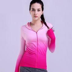 Women Gradient Color Yoga Hoodie Hot Girls Yoga And Running Jacket Long Sleeve Running Shirt, Running Jacket, Running Shirts, Sports Sweatshirts, Zip Up Hoodies, Womens Workout Outfits, Sport Outfits, Fit Women