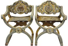 Carved Wood Hall Chairs, Pair