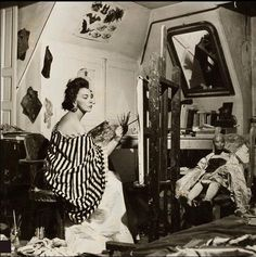 Leonor Fini (Argentinian, 1907–1996) in her art studio #workspace.