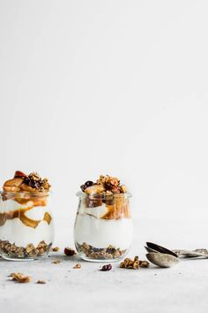 Maple Pear Parfait with Cardamom Skillet Granola is a healthy meal prep winter breakfast! Yogurt, sauteed maple cinnamon pears, and the easiest granola...