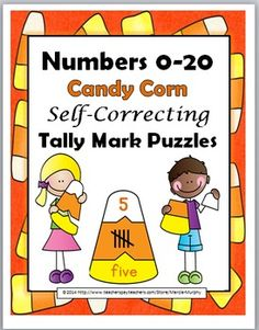 Numbers 0-20 Candy Corn Self-Correcting Tally Marks Puzzles