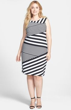 Free shipping and returns on Calvin Klein Asymmetric Stripe Matte Jersey Sheath Dress (Plus Size) at Nordstrom.com. Bands of graphic stripes run hither and thither, bringing figure-flattering dimension to a sleeveless stretch-jersey sheath designed for a shapely silhouette.