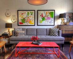 """""""What you leave out of a room is just as important as what you put in it.""""  A small space and a small budget challenge a young couple to refine their vision; a view of the living room in Kiera and Michael Kushlan's 750-square foot condo in Washington."""