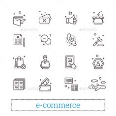 E-commerce, Retail, Shopping Thin Line Icons.