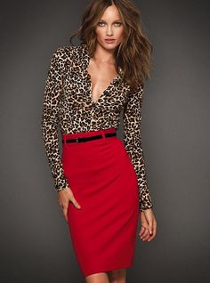 Red and leopard print with skinny black belt.