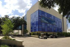 The Science Learning Center at the University of Texas, Dallas. The tile exterior represents two scientific patterns: atomic emission spectra of gases, and human DNA.