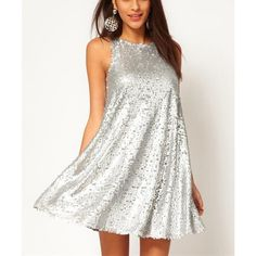 Silver sparkle sequined sleeveless dresses ($31) ❤ liked on Polyvore featuring dresses, outfit, white dress, sequin embellished dress, sequin cocktail dresses, silver sparkly dress and white sparkly dress