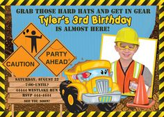 cards with construction theme | CONSTRUCTION TRUCK PHOTO BIRTHDAY INVITATIONS