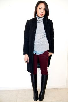 {outfit inspiration} chambray shirt under grey turtleneck + burgundy jeans + black boots