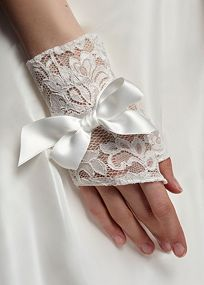 This mini fingerless glove is made of stretch lace and has a ribbon tie around the wrist.  BONUS: Fingerless styling allows you to show off your #wedding ring.  David's Bridal Style 148X: http://bit.ly/HgdNbf